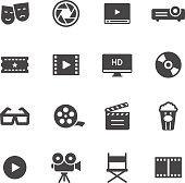 Movie, film and cinema icons