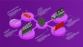 Cinema isometric infographic 3d illustration vector
