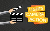 cinema lights camera action flat vector background