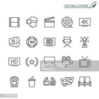 Cinema line icons. Editable stroke. Pixel perfect. : stock vector