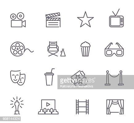 Cinema line icons : Arte vettoriale