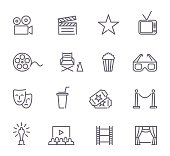 Simple Set of Cinema Related Vector Line Icons