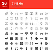 Cinema Line Web Glyph Icons. Vector Illustration of Film Outline and Solid Symbols.