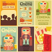 Cinema Mini Posters Set. Movie Collection Placards in Retro Style. People Watch Movies. Vector Illustration.