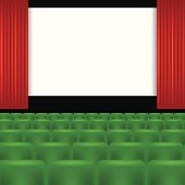 colorful illustration with cinema screen and green seats