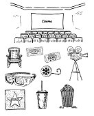 Cinema vector hand drawn decorative symbols set with screen, seats, movie camera, chair, film reel, popcorn, 3D glasses, cola, tickets. Sketch illustration isolated on white background.