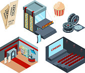 Cinema stage isometric. Inside interior of movie hall entertainment illustrations cinema ticket red curtains vector. Cinema theater isometry, screen showtime entertainment,