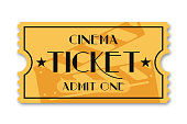 Cinema ticket isolated on background. Vintage admission movie ticket template. Vector