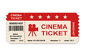 Cinema ticket isolated on white background. Vector illustration.