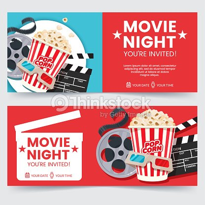 Cinema tickets design concept movie night invitation cinema poster cinema tickets design concept movie night invitation cinema poster template composition with popcorn stopboris Image collections