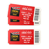 Cinema tickets isolated on white background. Realistic front view. Movie banner. Cinema Movie Tickets Set. Vector stock illustration.