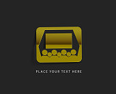 vector glossy cinema web golden icon design element.