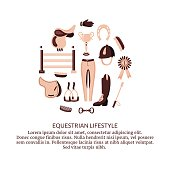 vector set of equestrian sport related items arranged in a circle with the text palce
