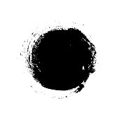 Circle brush stroke isolated on white background. Vector black blot brush. Hand drawn element. Grunge textured.
