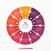 Circle chart infographic template with 10 options for presentations, advertising, layouts, annual reports. Vector illustration.