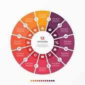 Circle chart infographic template with 12 options for presentations, advertising, layouts, annual reports. Vector illustration.