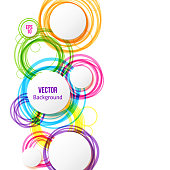 Circle design background with overlapping circles pattern. Banner with colored circles. Vector illustration