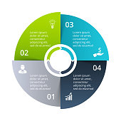 Circle diagram divided into 4 parts, steps or options. Vector origami infographic design template. Illustration for project steps visualization. Business presentation.