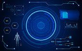circle digital hud ui screen virtual tech system concept background EPS 10 Vector