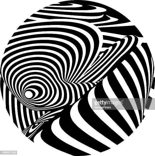 Circle Filled with Swirled Stripe Halftone Pattern