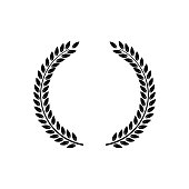 Circle frame from black silhouette of two laurel branches in flat style, vector illustration isolated on white background. Icon or emblem of laureate wreath or bays as symbol of victory and triumph