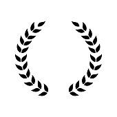Circle frame from black silhouettes of laurel branches leaves flat style, vector illustration isolated on white background. Icon or emblem of laureate wreath or bays as symbol of victory and triumph