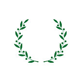 Circle frame from green silhouette of laurel branches with berries in flat style, vector illustration isolated on white background. Icon or emblem of bay wreath as symbol of victory and triumph