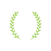Circle frame from green silhouette of two laurel branches in flat style, vector illustration isolated on white background. Icon or emblem of laureate or bay wreath as symbol of victory and triumph