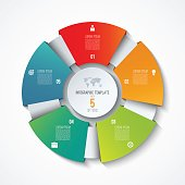 Circle infographic template. Process wheel. Vector pie chart. Business concept with 5 options, parts, steps. Can be used for diagram, graph, chart, step by step infographics, web design