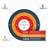 Circle infographic template. Vector banner with 3 options- 33, 66, 100 percent. Can be used for diagram, graph, chart, report, data visualization, presentation, web design