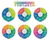 Set of circle infographic templates 3-8 steps same style. Colorful parts of the chart  with puzzle elements. For presentation and design concept. Vector illustration.
