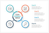 Circle infographics template with four elements, can be used as process diagram, steps, options, vector eps10 illustration