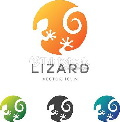 Circle lizard icon. Logo design. : stock vector