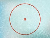 Vector illustration of red circle on ice skating rink from above.