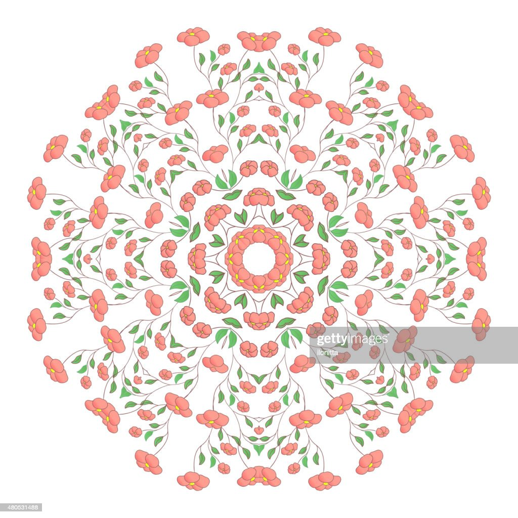Circle ornament, ornamental round lace with poppy flowers. : Vectorkunst