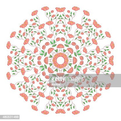 Circle ornament, ornamental round lace with poppy flowers. : Vector Art