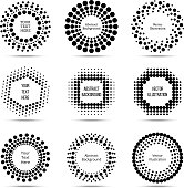 Circle vector dotted burst halftone banners. Label and logo with space for text illustration