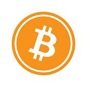 Orange circle with isolated white bitcoin symbol