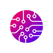 Circuit board icon vector. Colorful logo. EPS 10
