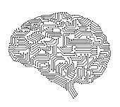 artificial intelligence brain or circuit board in brain shape vector illustration