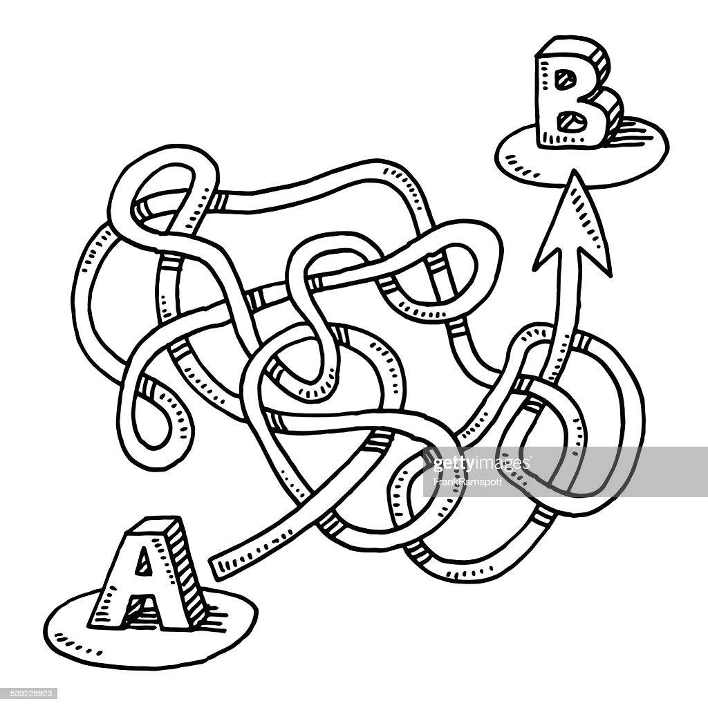 Circuito Usb : Circuitous route a nach b pfeil zeichnen vektorgrafik