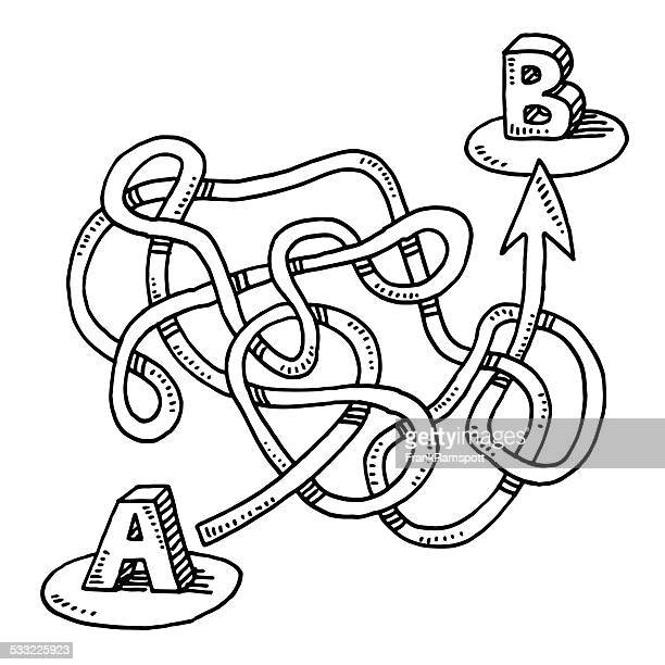 Circuitous Route A to B Arrow Drawing