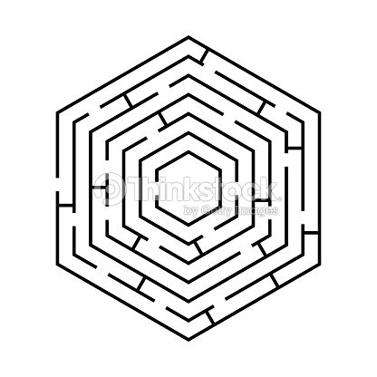 Circular Labyrinth In The Shape Of A Hexagon Black White Vector ...