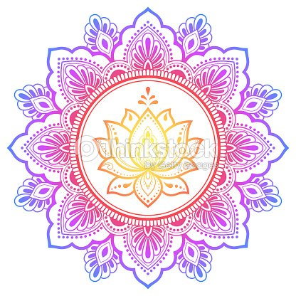 Circular Pattern In Form Of Mandala With Lotus Flower For Henna