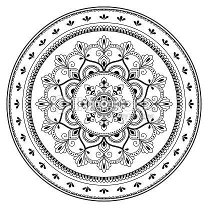 Patrón Circular En Forma De Un Mandala Mandala Del Tatuaje De Henna ...