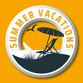 curcular summer vacations vector logo with sunshade, deck chair, sailing boat, beach, seagull and the sea