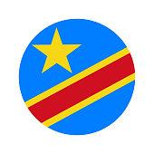 Flag democratic republic of the Congo, vector illustration circular shape on white background