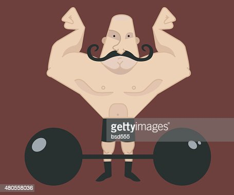 Circus athlete with mustaches with barbell : Vector Art