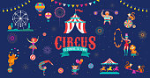 Circus banner template and background with tent, monkey, air balloons, gymnastics, elephant on ball, lion, jugger and clown. Vector illustration