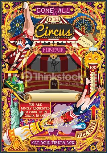サーカス カーニバル招待テーマ公園テント ベクトル イラストのポスター